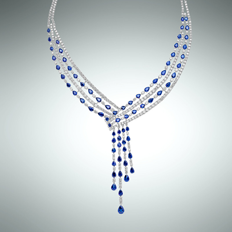 Necklace Sapphires Fall - LeoPizzo SPA